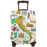 Mapa de la Cubierta Protectora de la Maleta de Italia y Los Iconos de Viaje Protector de Maleta de Viaje L