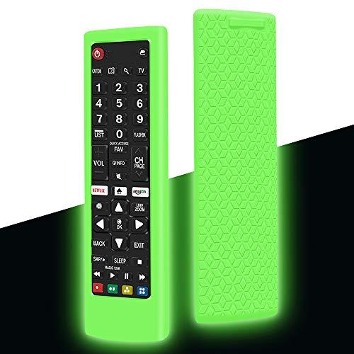 Custodia in Silicone per LG Telecomando AKB75095308 AKB74915324 AKB73715601 AKB75095307 Telecomando, Anti-Scivolo Antiurto Protettiva Cover Cassa Copertura per LG Smart TV Remote (Verde Fluorescente)