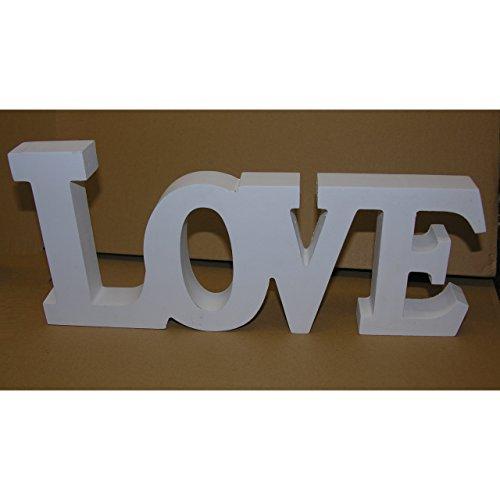 Koi Schriftzug Love Weiss Holz Buchstaben Aufsteller Deko MDF 33x14,5 cm DEKO