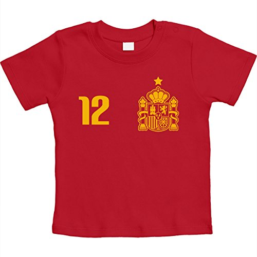 Spanien Spanisches Fan-Trikot 12. Mann Fußball EM Unisex Baby Thirt 6-12 Monate Rot