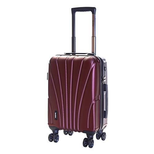 Karabar Hard Shell Cabin Carry-on Hand Luggage Suitcase Bag 55 cm 2.5 kg 35 litres 4 Spinner Wheels TSA Number Lock, Seashell Dark Red