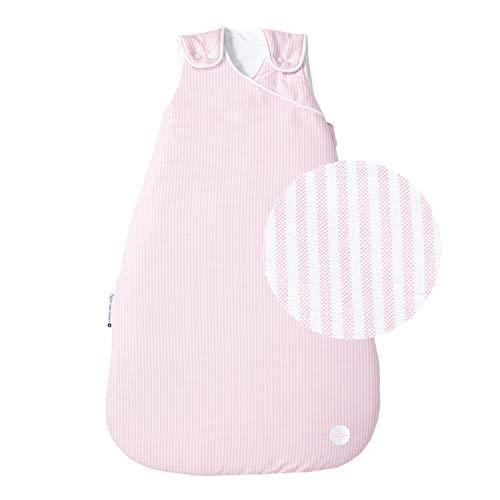 Babyschlafsack Mädchen 70cm von nordic coast | Rosa Weiß gestreift | Schlafsack 3-6 Monate | Baby Schlafsack Ganzjahres für 18-21° Raumtemperatur