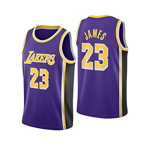 JHJU Uniforme de Entrenamiento de Baloncesto de los Lakers No. 23, Uniformes de Baloncesto para Hombres y Mujeres, Chaleco de Malla Bordado M A