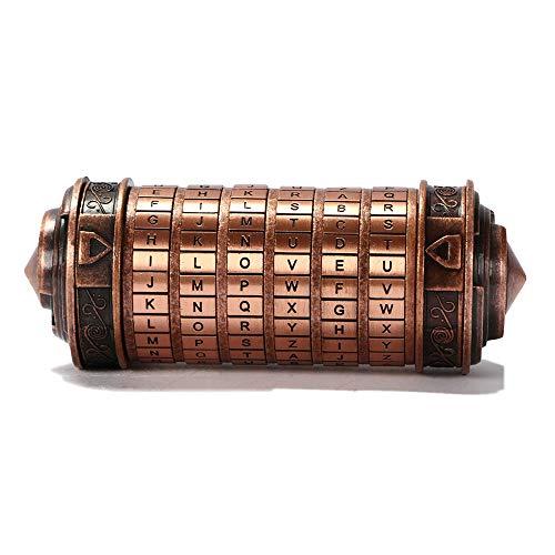 ACELEY Caja Regalo San Valentín, Da Vinci Code Combination Lock Accesorios de Regalo románticos adecuados para Novios y Novias Rompecabezas con Cerradura (Bronce Rojo)