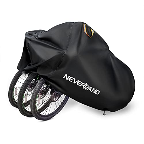 NEVERLAND Bike Cover for 2 or 3 Bikes, Waterproof Bicycle Cover, Outdoor Bike Storage Covers, 210D Heavy Duty Dust Resistant UV Protection for Mountain Road Bikes