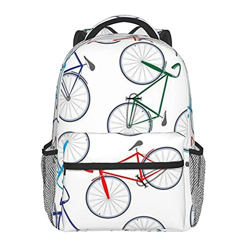 FJJLOVE Mochila Tote Bicicletas de carreras Mochila básica clásica Mochila escolar resistente al agua Mochila informal con bolsillos laterales