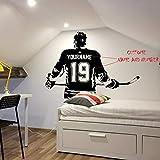 Hockey Wall Art - Nombre personalizado Calcomanía de hockey Decoración de pared de hockey - Etiqueta de vinilo de hockey sobre hielo - Elija nombre y números de jersey 60X42Cm blanco