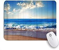 EILANNAマウスパッド ビーチテーマ波状の海青い空白い雲表面の風景 ゲーミング オフィス最適 おしゃれ 防水 耐久性が良い 滑り止めゴム底 ゲーミングなど適用 用ノートブックコンピュータマウスマット