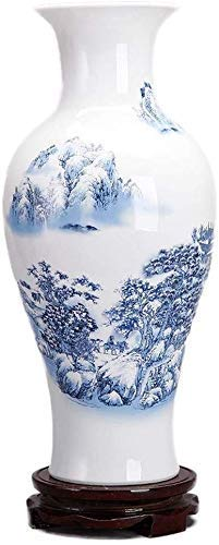 XYSQWZ Vase Grave Ceramic Living Room Flower Arrangement Decoration Fake Flower Blue White Snow Plant Flower 37 17Cm for Flowers,B
