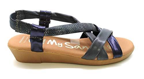 Oh! my Sandals 4670 Pieles combinadas Marino (Numeric_38)
