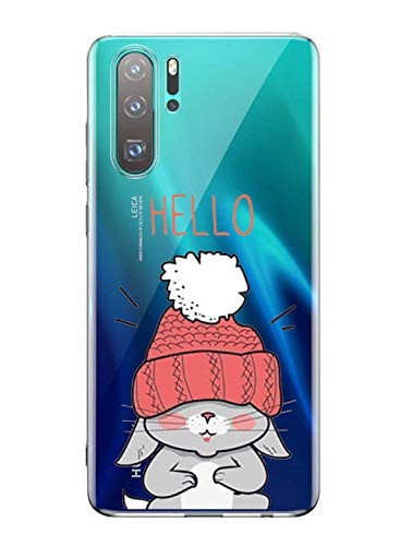 Oihxse Mode Transparent Silicone Case Compatible pour Sony Xperia 10 Coque, Ultra Mince Souple TPU Mignon Animal Série Protection de Housse Anti-Scrach Bumper Etui -Lapin
