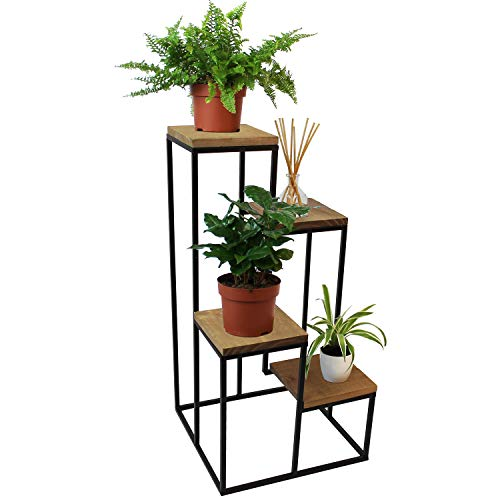 Pflanzentreppe mit 4 Ablagen 34x34xH67cm, Pflanzenregal Blumenregal Blumentreppe Blumenetagere Standregal