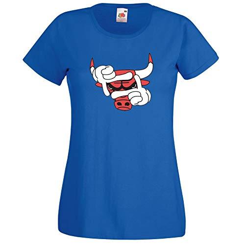 Donna T-Shirt Maglietta Motivo Bulls - Blu Reale M