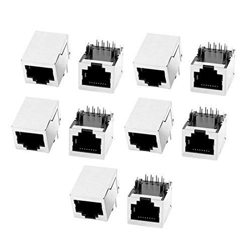 Sourcingmap 10 Pcs RJ45 Modular Enchufe 8P8C PCB Montaje Conector de Red Conectores Acopladores