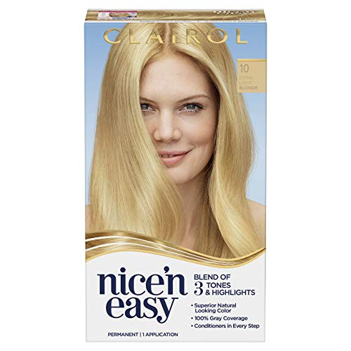 Clairol Nice 'N Easy Permanent Hair Color, 10 Extra Light Blonde (Packaging May Vary), Pack of 1
