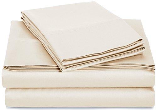 Amazon Basics Juego de Sábanas 400 Hilos, 100 % algodón, beige, Queen