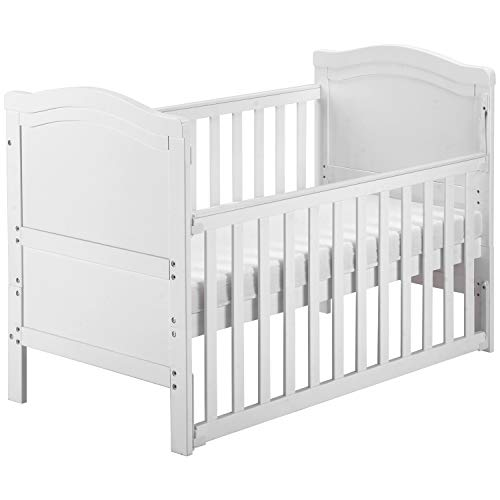 Solid Wood Baby Cot Bed Toddler Bed with Foam Mattress│Converts into a Junior Bed │Single-Handed Dropside Mechanism│3 Adjustable Position (White)