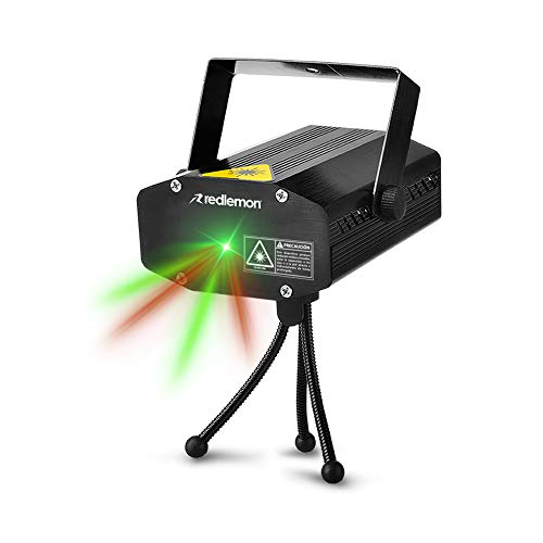 Redlemon Proyector de Luz Láser Audiorítmica con Tripié, de Luz Verde y Roja, Hasta 30 Metros de Alcance. Ideal para Bares, Restaurantes, Tiendas, Fiestas, Eventos y Más