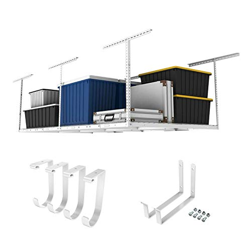 "FLEXIMOUNTS 4x8 Overhead Garage Storage Rack w/Hooks Adjustable Ceiling Storage Racks, 96"" Length x 48"