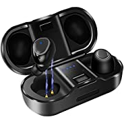 KUNGIX True Wireless Headphones, Bluetooth 5.0 TWS Earphones with Charging Case, IPX4 Waterproof and Stereo Sound Earbuds, 20H Playtime Noise Canceling Headsets for Sport GYM, Running, Built in Mic