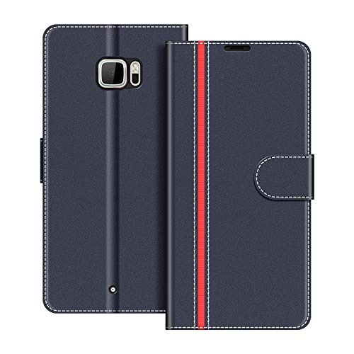 COODIO Funda HTC U Ultra con Tapa, Funda Movil HTC U Ultra, Funda Libro HTC U Ultra Carcasa Magnético Funda para HTC U Ultra, Azul Oscuro/Rojo