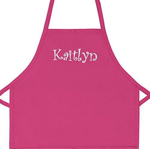 """Personalized Apron Embroidered Add a Name Kids Apron (Hot Pink, Regular 15"""" x 20"""" (for Kids up to Age 6 or 7))"""
