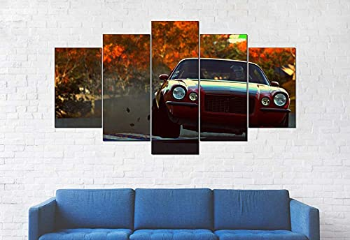 GSDFSD Art Enlienzo Póster Coche Deportivo Camaro RS 5 Piezas Pared Mural para Decoracion Cuadros Modernos Salon Dormitorio Comedor Cuadro Impresión Piezasmaterial