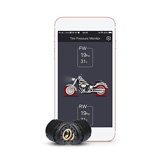 Lzcat TP200 Motorrad Bluetooth Reifendruckkontrollsystem TPMS Handy APP Erkennung 2 Externe Sensoren