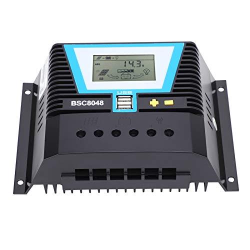 Voluxe Regulador de carga solar, detección inteligente 20 Ma, regulador solar inteligente, IP30 para control de carga, carga de batería 80 A.
