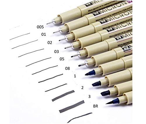 SAKURA Pigma Micron Tutto Nero 10 pennini Set 005,01,02,03,05,08,1mm ,2mm ,3mm, Brush, Made in Japan
