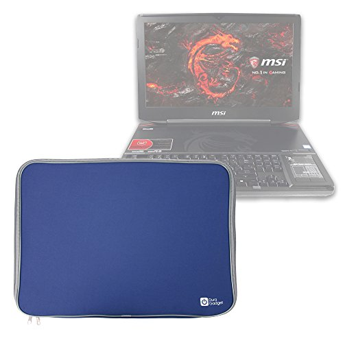 DURAGADGET Blue Neoprene Case with Steel Zip -Compatible with CUK MSI GT80S Titan 18.4inch i7-6820HK 64GB 2 x 512GB SSD 2TB HDD NVIDIA GTX 980M SLI 16GB FullHD Windows 10 Gaming Laptop Computer