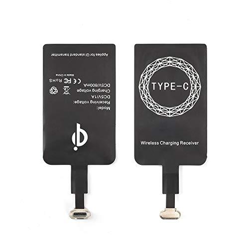 ELEpure - Receptor de carga inalámbrico Qi tipo C, adaptador de cargador inalámbrico USB C, chip de corrección ultrafino para Google Pixel 2XL-XL-LG V20-LG G5- Samsung Galaxy A5-A7