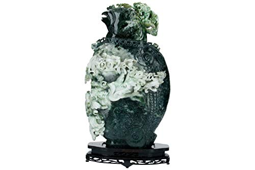 Vase 30x48,5x15cm mit Deckel aus Burma-Jade