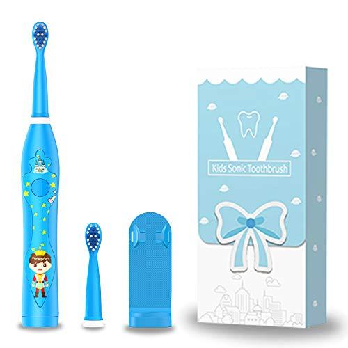 Spazzolino da denti ricaricabile per bambini, spazzolino sonico per bambini, spazzolino elettrico intelligente per ragazze dai 3 ai 12 anni, promemoria 30s, timer 2 minuti, 3 modalità, 2 testine