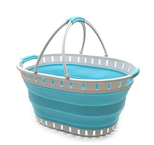 SAMMART Wäschekorb aus Kunststoff, faltbar, faltbar, tragbar, platzsparend (Grey/Bright Blue)