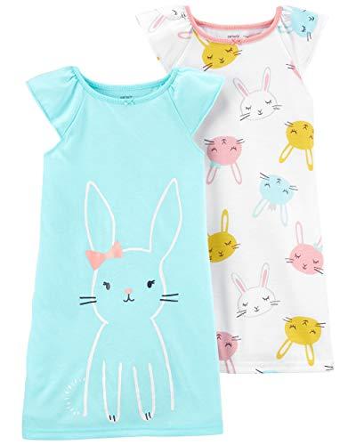 Carter's Girls' 2-14 2-Pack Printed Night Gowns (2T, Aqua Bunny Rabbit)