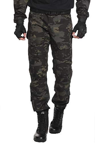 TRGPSG Pantaloni Tattici Militari da Uomo Pantaloni Cargo mimetici BDU Casual Pantaloni da Lavoro Multi Tasche Trekking Impermeabile Pantaloni da Caccia Militari Tattici Pantaloni WG3F Dark Camo