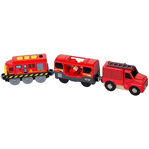 Fikujap Electric Train Toy for Kids, Magnetic Train Toy Compatible with All Wooden Tracks, Battery Operated Railway Locomotive Train, for Boys Girls Birthday Gifts