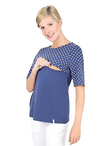 Be! Mama 2in1 Still-T-Shirt, Schwangerschaftsshirt, Modell: Cleo, blau/Punkte, XL