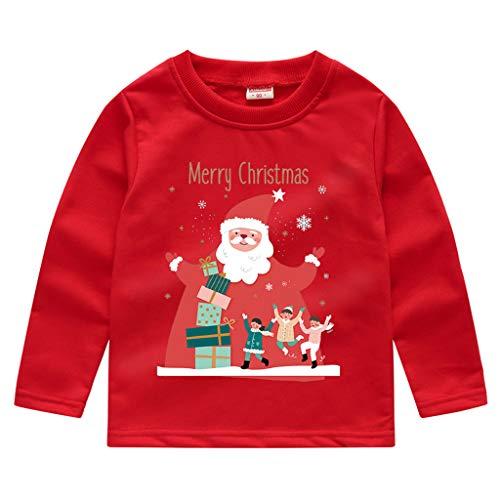 baohooya Felpe Bambino Natale 1-8 Anni Bimba Ragazze E Ragazzi Maglietta Manica Lunga Caldo Natalizio Pullover Maglione Stampa Babbo Natale Felpa Cime Autunno Rosso 4-5 Anni