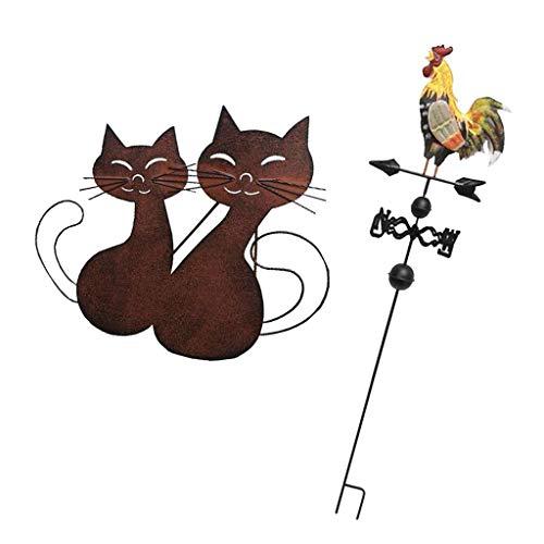 F Fityle 2 Stü Europäischen Stil Metall Gemalte Gartenpflöcke, Hahn Wetterfahne Wegweiser \\u0026 Katze Statue Für Hausgarten