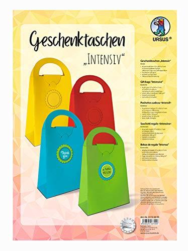 URSUS 31150099 Geschenktaschen aus Fotokarton zum Zusammenfalten in 4 intensiven Farben sortiert, 4 Taschen 17 x 28,5 x 7 cm groß und 8 Tags, gelasert und genutet, inklusive Bastelanleitung