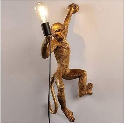 Lámpara industrial, Lámpara de araña de luz del colgante Mono LED LED Cuerda de cáñamo decorativo Colgante Luminaria E27 Retro Retro Resina de resina Cuerda de cáñamo Mono Monkey Lámpara Handelier Hec