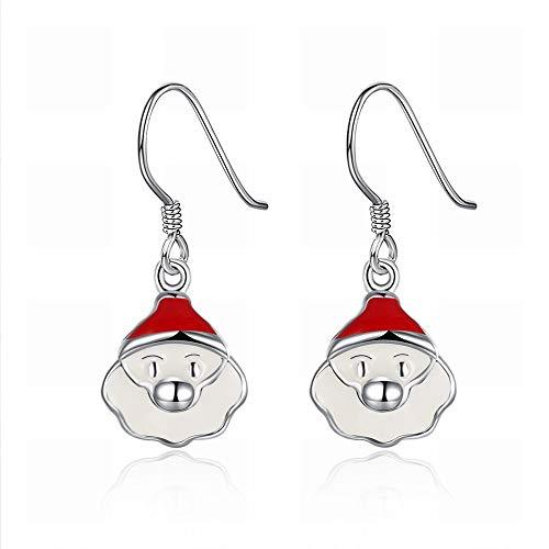 Kerstman-oorbellen voor dames, roestvrij staal, hypoallergeen, zilverkleurig, prachtige oorbellen. Seducente Een