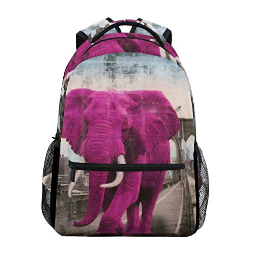 Girl Casual Daypack,Boy School Book Bag,Men/Women Travel Knapsack,Kids/Adult Laptop Backpack,Unisex Multifunction Rucksack,College Backbag,Pink Elephant