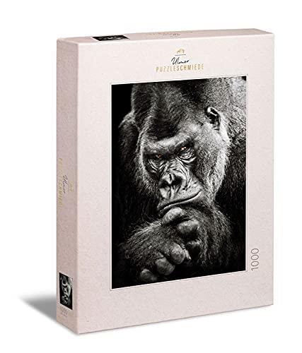 Ulmer Puzzleschmiede - Puzzle 'Gorila': Puzzle de 1000 piezas - Motivo animal con poderoso gorila en blanco y negro