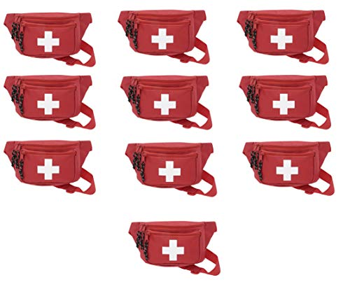 10pk ASA Techmed First Aid Waist Pack - Baywatch Lifeguard Fanny Pack - Compact for Emergency at Home, Car, Outdoors, Hiking, Playground, Pool, Camping, Workplace
