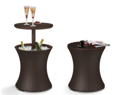 Keter Cool Bar Mange-debout d'extérieur / Support de rangement à boissons en rotin – Marron