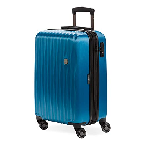 SwissGear Hardside Expandable Luggage with Spinner Wheels and TSA Lock, Ocean Blue, Carry-On 19-Inch