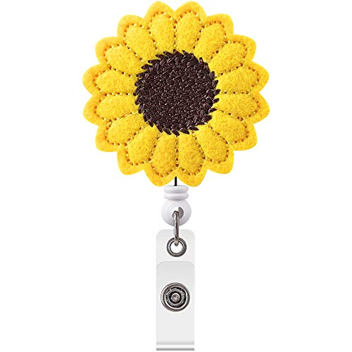 Sunflower Badge Reel Holder, Accurate Stitching, Reinforced Strap, Easy to Use, Alligator Clip, Great Gifts for Women (1)
